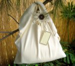 "Natural ""Oat Bag"" Tote with Flower"