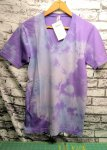 V-Neck Tee Blue/Purple Tie-Dye Small