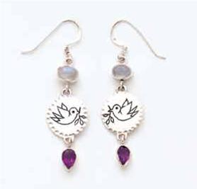 Dove W/Moostone & Amethyst Earrings