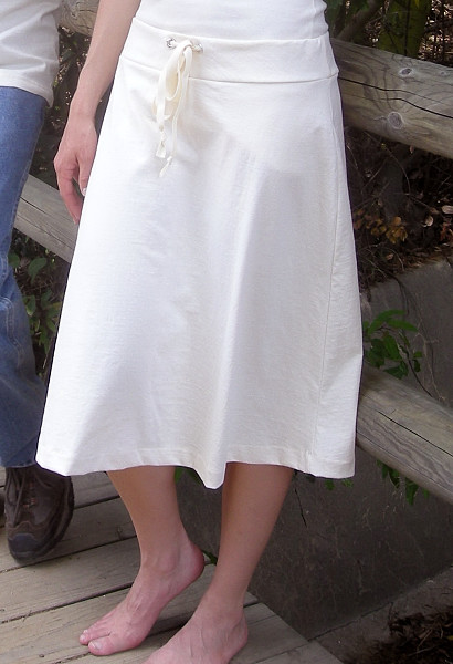 Jersey Drawstring Skirt in Natural